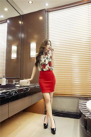 レッド 花柄 セットアップ 透け感 ミニ タイト ドレス