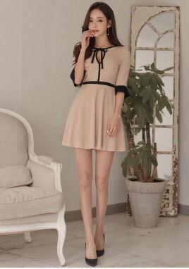 ピンク キュート ミニ フレア ワンピース ドレス
