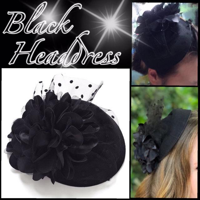 ブラックヘッドドレス海外セレブ パーティ 結婚式