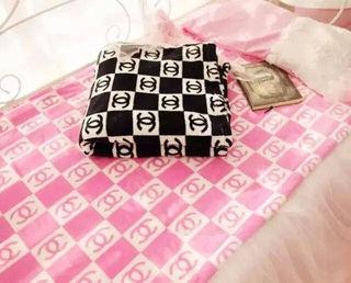 毛布 ブランケット ピンク/黒色