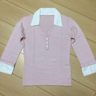 美品 IMAGE 2wayレイヤード風 薄手セーター ピンク