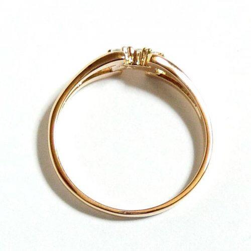 ツインフレーム スワロフスキークリスタル ピンクゴールド指輪