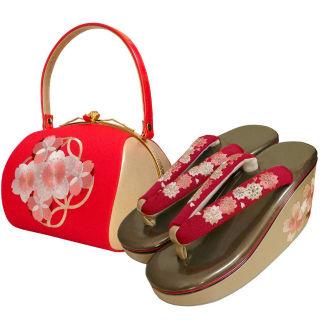 新品送料込 刺繍バッグ+刺繍草履2点セットASW030