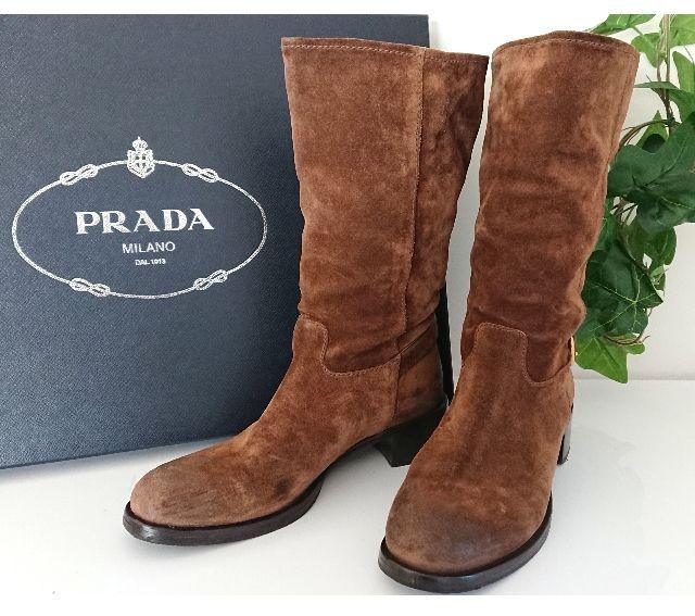 PRADA スウェード レザー ブーツ キャメル ブラウン(PRADA(プラダ) ) - フリマアプリ&サイトShoppies[ショッピーズ]