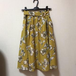 花柄スカート オレンジ イエロー ロングスカート 花柄