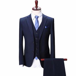 ?スタイリッシュスーツ 3ピース ビジネス ブルー?