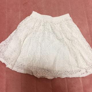 【美品】 スカート ホワイト 白 レース ミディアム