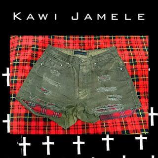 新品 KAWI JAMELE 濃緑チェックショートパンツ