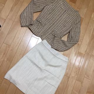 (2点セット)ツイードノーカラージャケット&スカート
