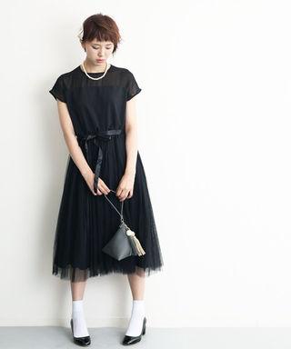 デコルテシースルー チュール ワンピース  黒 ドレス