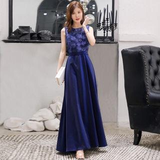 シフォンプリーツ ロングドレス