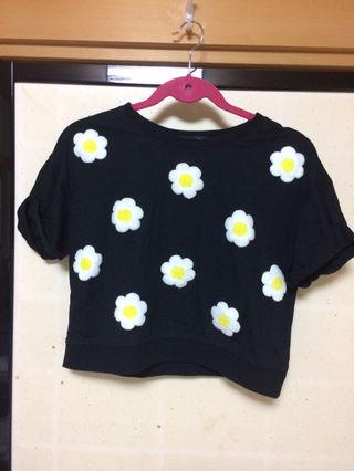 【one spo/ワンスポ/花柄/Tシャツ/黒】