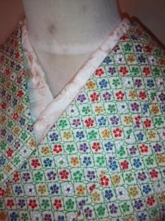 オフ白カラフル小花*小紋正絹袷未使用163裄長