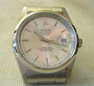 エルジンメンズアナログ自動巻&手巻き式腕時計