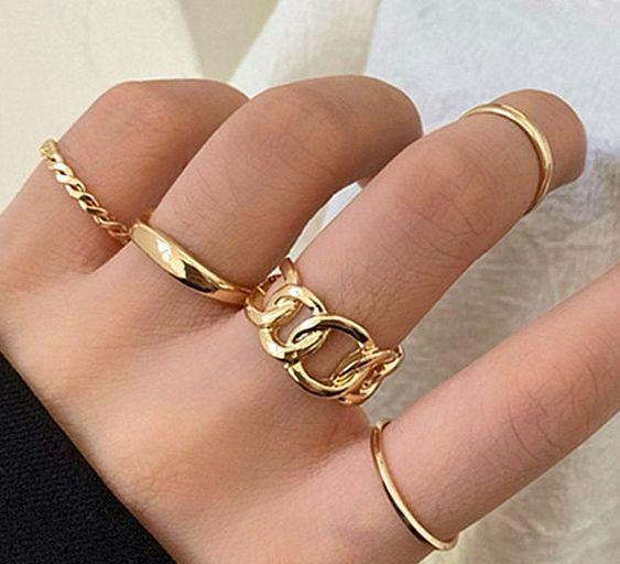 【売れ筋商品】ゴールドアンティーク指輪 5個セット