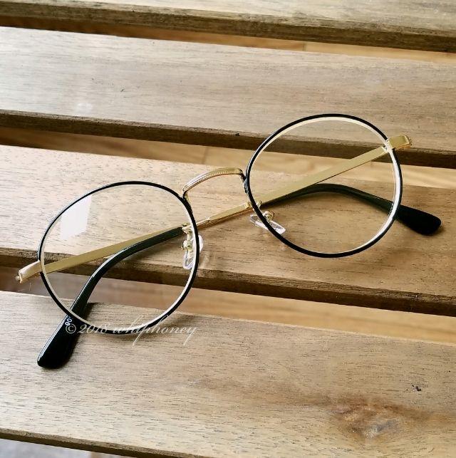メタルコンビフレーム ボストン眼鏡 ゴールドブラッククリア