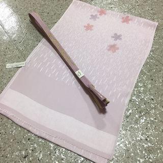 現品限り新品 正絹 薄ピンク桜模様 帯揚げ帯〆セット
