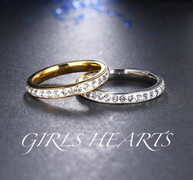 送料無料11号シルバースーパーCZダイヤステンレスリング指輪