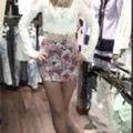 ハイウエストバラ柄スカート