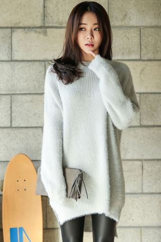 【韓国ファッション】スウィートロングニットワンピ