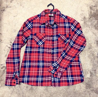 SCOLAR 赤 チェックシャツ