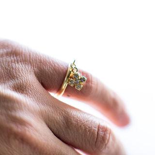 小デザインクロス クリスタル 輪リング11号-17号/指輪
