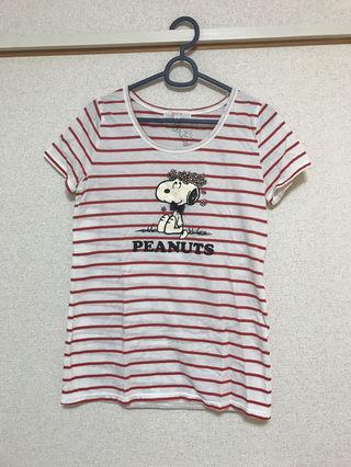 groveスヌーピーTシャツ レッドボーダー
