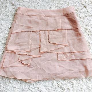 【美品】GUジーユーピンクベージュシフォンフリルミニスカート
