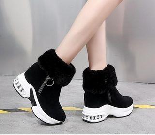 EU38(24cm)ショートブーツ ファーブーツ 厚底ブーツ