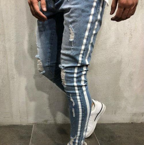 XL/ライトブルー ダメージジーンズ スキニーパンツ
