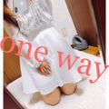 102.one way ホワイトフレアスカート シンプル