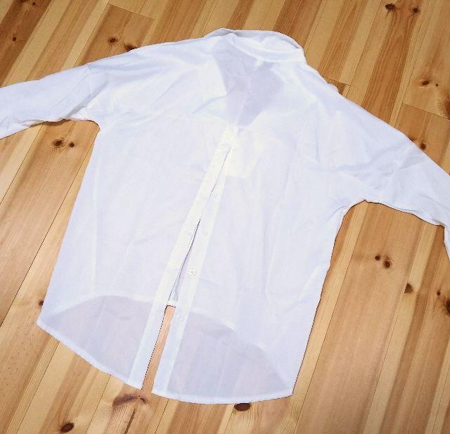 Vネック 白 シャツ M カジュアル ロング丈 ブラウス