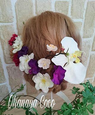 胡蝶蘭とチェリーブロッサムの髪飾り13点Set No128