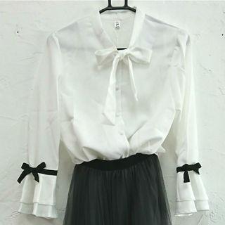 在庫残りわずか◇リボンタイのとろみシャツ◇ホワイトM