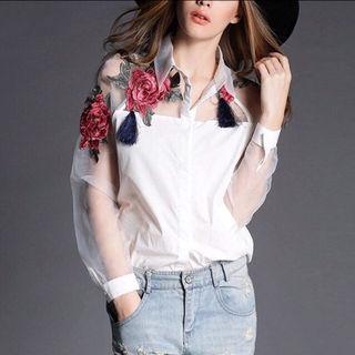 大人気トレンド 花柄 刺繍 シャツ ブラウス 海外セレブ