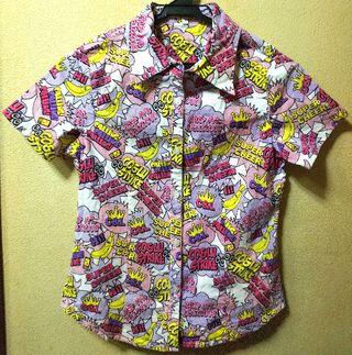 ココルルUSEDポップなストレッチ半袖シャツ