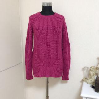 マウジー 濃ピンク ニット セーター
