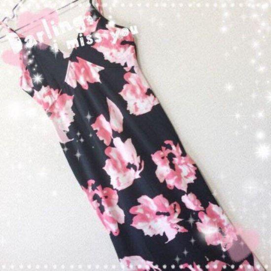 新品花柄綺麗マキシワンピース ピンク花 XL