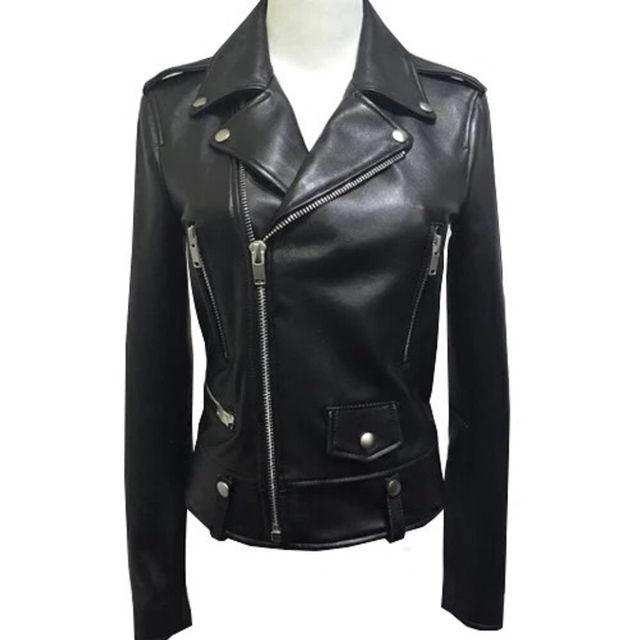 100%本革本皮、柔らかくて暖かい羊皮ライダースジャケット