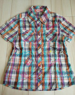 値下げ150㎝Angel Blue 派手なチェックシャツ