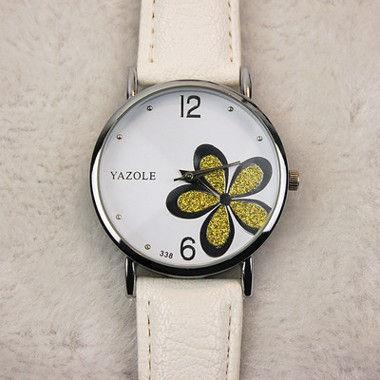 花柄腕時計 ホワイト×イエロー 赤×ピンク