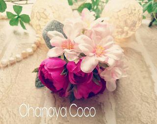 桜hirahira~pinkのコサージュ No009