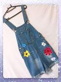 新品花柄可愛いデニム ショートオール ブルー L