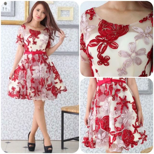 即日発送!赤 花柄 刺繍 ワンピース キャバドレス