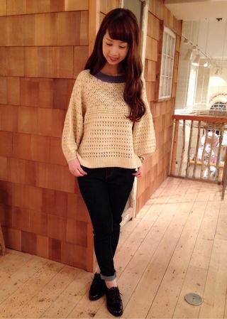 新品 through knit top