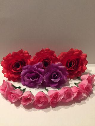 結婚式 など 造花 髪飾り 14本 ラプンツェルヘアなど
