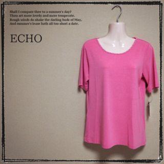 【ECHO】新品 パール付きTシャツ