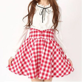 Ank Rouge ブロックチェック スカート 赤