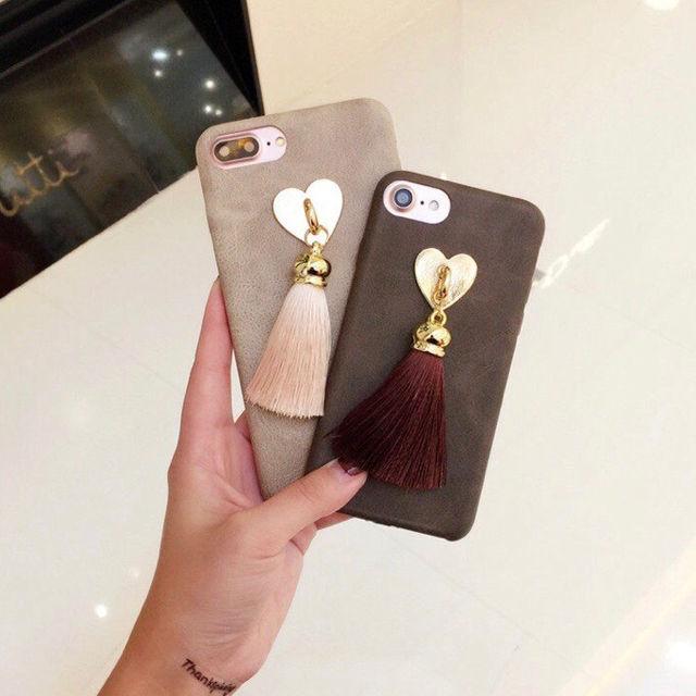 フリンジ タッセル ハートiPhone7 8ケース - フリマアプリ&サイトShoppies[ショッピーズ]