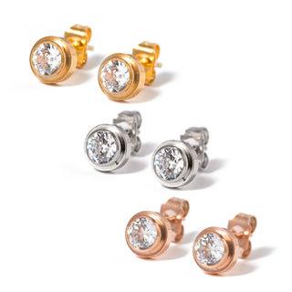 CZダイヤモンド!ワンポイントチタンステンレスピアス 片耳
